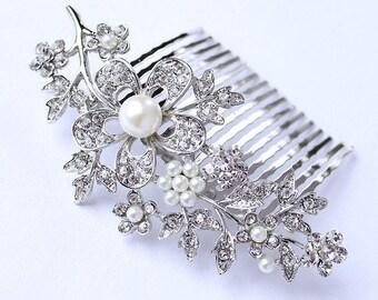 Pearl Bridal Comb, Wedding Hair Piece, Crystal Bridal Hair Clip, Wedding Hair Accessories, Rhinestone Comb, Pearl Wedding Headpiece