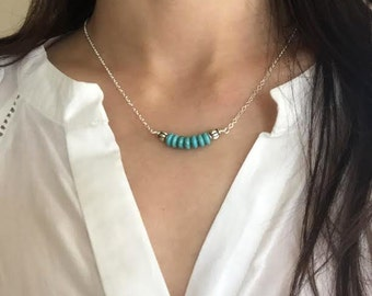 turquoise necklace, layering necklace, beaded necklace, antique jewelry, turquoise blue necklace, simple everyday jewelry, dainty jewelry