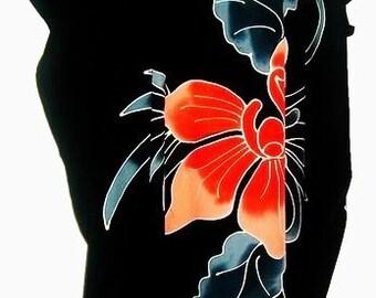 Erstaunlich, schwarze Orchidee Blume Kaftan Kleid Floral Butter weichen Stoff lange Bali neue Premuim authentischen Luxus Abend handgefertigte