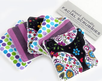 Face Scrubbies - Set of 6 - Sugar Skull Purple - Planet-Friendly Makeup Remover Pads