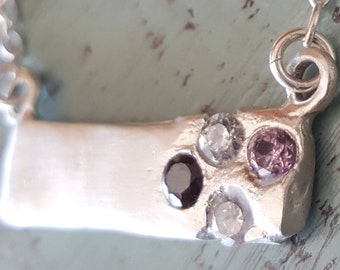Silver Stone Bar Necklace Sterling Handmade OOAK Pendant