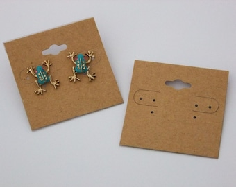 Package Of 100 Natural Color Kraft Earring Cards 2 x 2 Inch