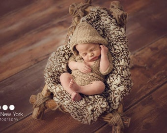 Natural Hoodie Newborn Photo Prop Coming Home Romper Baby Outfit Girl Hand Knit Onepiece Bodysuit Boy Swaddler Organic Going Jumper Infant