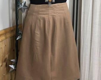 Vintage 1970's 100% wool a-line camel skirt 2P