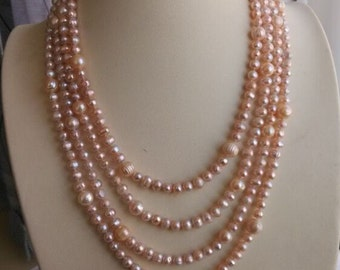 Pearl Necklace - cultured 6-10 mm lavender pearl long necklace 85 inch