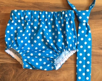 RTS in a size 12-24 Month Necktie, Diaper Cover Set Sapphire Blue Polka Dot Photography Prop, Dressy Baby Boy