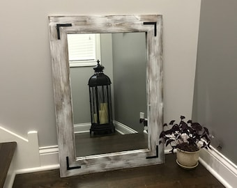 WHITEWASH Mirror, Wood Framed Mirror, Rustic Wood Mirror, Bathroom Mirror, Wall Mirror, Vanity Mirror, Small Mirror, Large Mirror. Gift