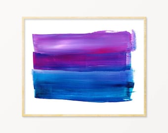 Purple and Blue Brush Strokes Printable.  Instant Download.  Horizontal Print.