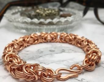Chunky Copper Chainmaille Bracelet for Men