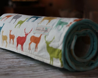 Baby Blanket - Baby Boy Blanket - Baby Girl Blanket -  Elk Family in Multicolor by Birch Organic Fabrics - Organic Blanket