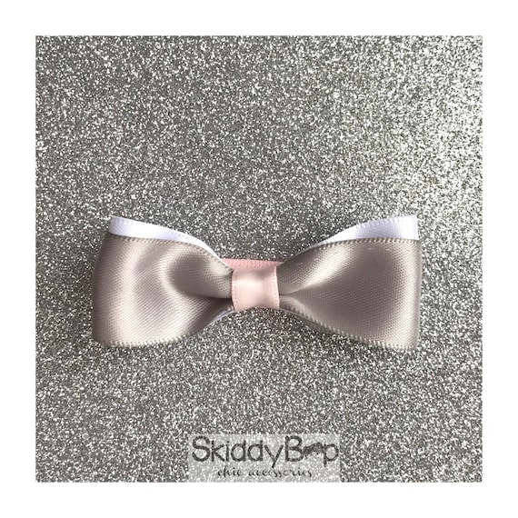 Grey Satin Bow