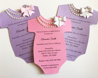 Onesie Invitation Etsy - Onesie baby shower invitations template