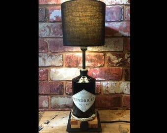 Hendrick's Table Lamp. Hendricks Gin Bottle Black Table Bedroom Man Girl Boy Cave Light Upcycled Fun Cool Pub Bar Drink Handmade Bedside