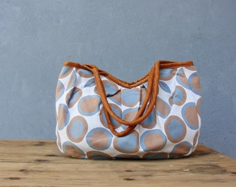Dotted Linen Bag with Leather details Hobo Bag