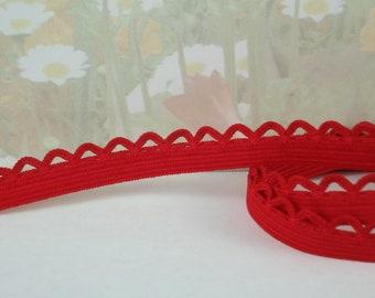 "5yds Red Elastic Picot Lace Stretch Skinny Elastic 1/2"" scalloped loop edge diy Headbands Sewing lingerie Underwear Elastic Trim"