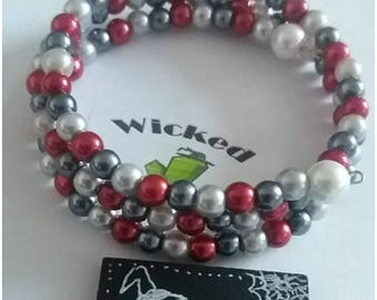 silver, red and grey 6mm glass pearl bead wire wrapped bracelet