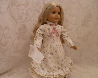 Laura Ingall's Replica Doll Dress fits 18 Inch Dolls, Hand Made Historical 1880's Replica Dress fits American Girl Dolls