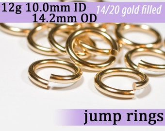 12g 10.0mm ID 14.2mm OD gold filled jump rings -- 12g10.00 goldfill jumprings 14k goldfilled