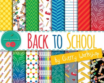 Back to School Digital Paper Set - school patterns in primary colors, pencils, crayons, clips digital paper