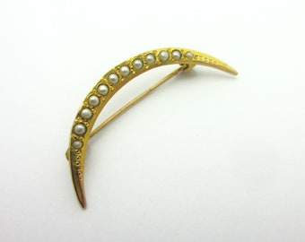 Art Nouveau Seed Pearl Crescent Pin 10k Yellow Gold Crescent Brooch