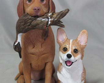 Custom Made Clay Dog Cat Wedding Cake Topper Sculpture Red Labrador Corgi Duck Hunting Engagement Party