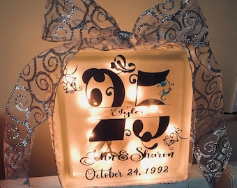 Lighted Glass Anniversary Blocks