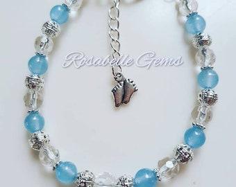 March Birthstone, Aquamarine Bracelet, March Birthday, Aquamarine Birthstone, Birthday Gift, Gift For Her, Crystal Bracelet, Aquamarine