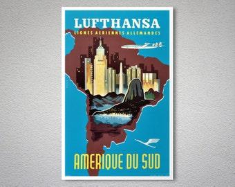 Lufthansa Lignes Aeriennes Allemandes Travel Poster - Poster Print, Sticker or Canvas Print / Gift Idea