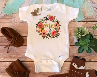 One Birthday Onesie®, First Birthday Outfit Girl, One Baby Bodysuit, Baby Girl Clothes, 1st Birthday Shirt, Boho Baby Clothes, Cute Baby