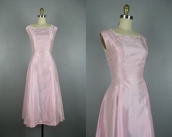 Vintage 1950s Dress 50s Pink Organza Party Dress with Crochet Trim Size S