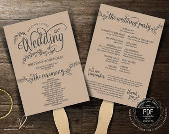 Wedding Program FAN PDF template, instant download editable printable, Ceremony order card in rustic garden floral theme, fan (TED372_4F)