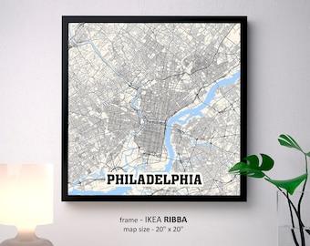 Philadelphia Pennsylvania Map Print, Philadelphia Square Map Poster, Philadelphia Wall Art, Philadelphia gift, Custom Personalized map
