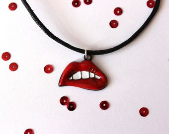 Red Lip Bite Girl Power Cord Choker Necklace