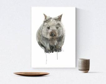 Wombat Watercolour, Australian Nursery Art, Common Wombat Wall Art, A3 Animal Print, Marsupial Artwork,  Australiana Gift