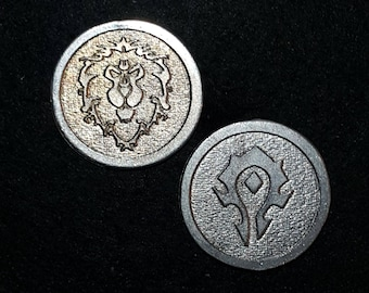 Horde Alliance Heads or Tails Pewter Flipping Coin