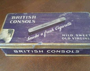 British Consols - W.C. MacDonald Cigarettes 1940's Tin Box*