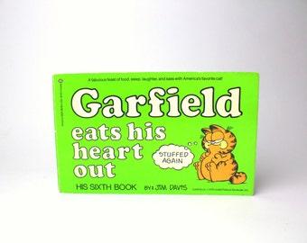 Vintage 1983 Garfield Eats His Heart Out Softcover Book - Jim Davis, his Sixth Book - Comics Fat Orange Cat