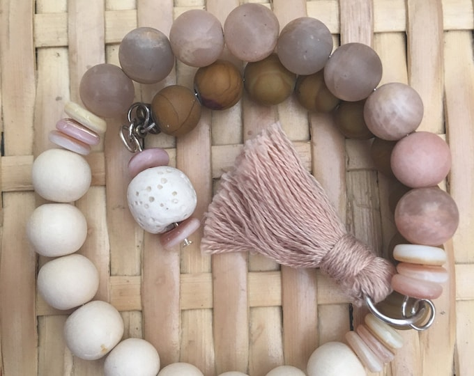 Blush - Customizable Wrap Around Mala/Prayer Bracelet featuring Semi-precious Wood Jasper and Sun Stone Beads