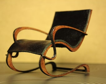 Art Nouveau style black leather armchair , 1/12 miniature for dollhouses