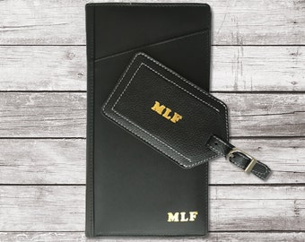 Personalized Leather Travel Wallet and Luggage Tag, Travel Wallet Passport Holder, Travel Wallet Organizer, Monogrammed Travel Wallet
