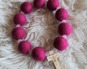 Bright Pink Felt Ball Rosary Decade