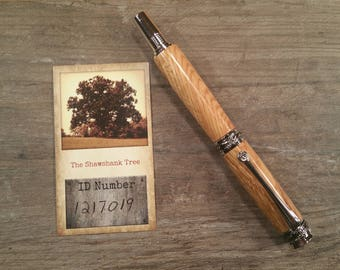 Shawshank Oak Tree    Handcrafted Majestic Jr Rhodium & Black Titanium Fountain Pen   Free Shipping US   Discounted International Shipping