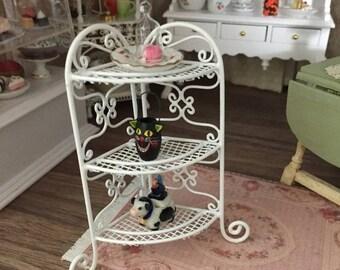 SALE Miniature White Corner Stand, Mini Shelf Rack, Dollhouse Miniature, 1:12 Scale, Dollhouse Furniture, Mini White Shelves