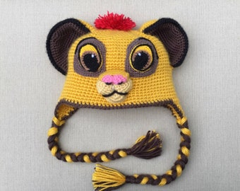 Lion Kion/Simba hat crochet pattern PDF, English USA