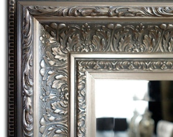 Elegance Ornate Embossed Antique Silver Gold Framed Wood Wall Mirror
