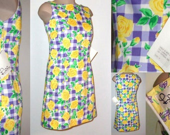 NWT Vintage LILLY PULITZER 'Tattersall Rose' Shift Dress Size 6 Purple Yellow White
