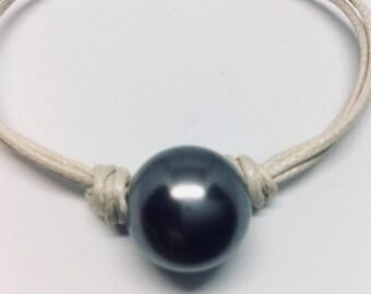 Cotton bracelet black Swarovski Pearl