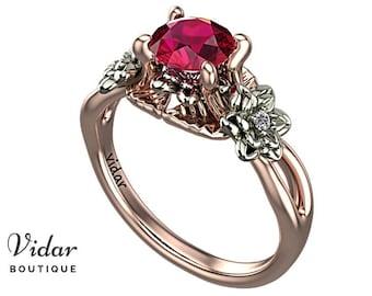 Flower Engagement Ring, 3 Stone Engagement Ring, Ruby Engagement Ring, Two Tone Ring, Edwardian engagement ring, Leaves Ring Rose Gold Ring