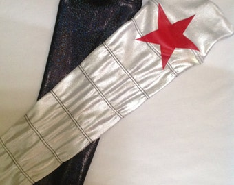 Winter Soldier armbands one silver and one black with a red star at the top