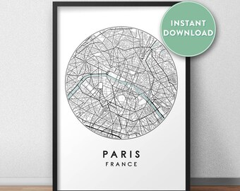 Paris City Print Instant Download, Street Map Art, Paris Map Print, City Map Wall Art, Paris Map, Travel Poster, France,